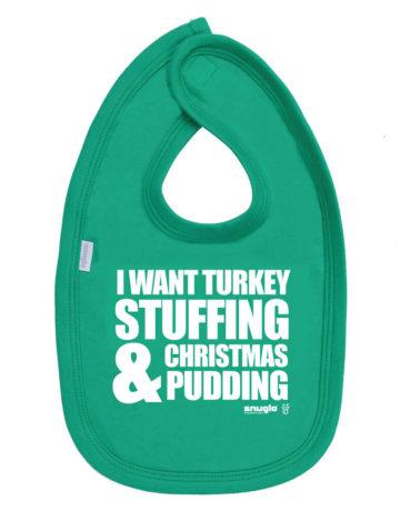 I Want Turkey Christmas Baby Bib, Green