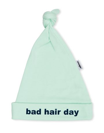 BAD HAIR DAY Baby Hat - Mint with blue slogan, unisex