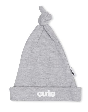 CUTE Baby Hat - Marl Grey with White Slogan