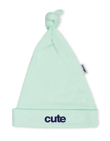 CUTE Baby Hat - Mint with Blue Slogan