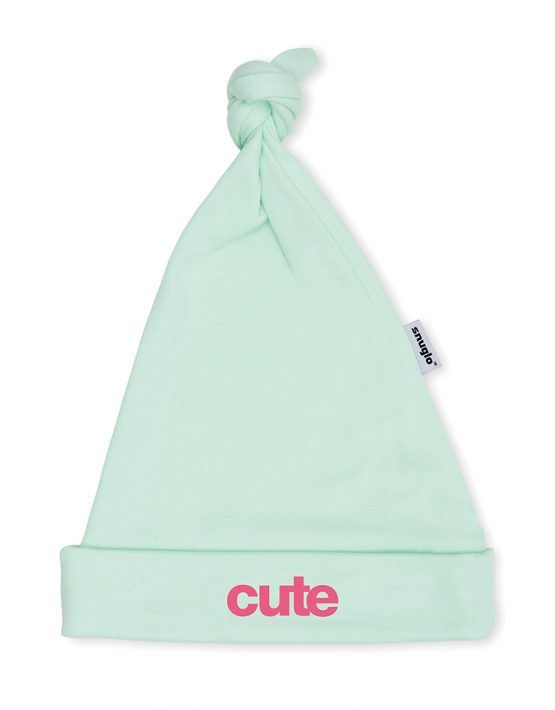 CUTE Baby Hat - Mint with Pink Slogan