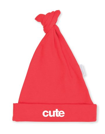 CUTE Baby Hat - Red with White Slogan