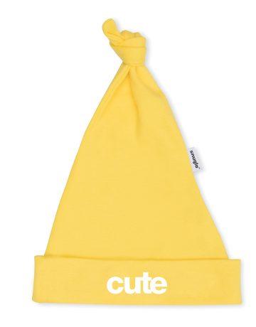 CUTE yellow baby hat with white slogan, unisex