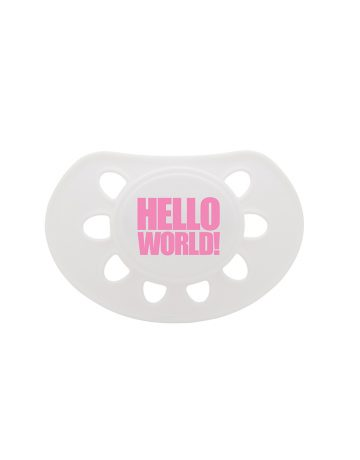 HELLO WORLD dummy white/pink soother