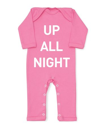 Up All Night Pink Baby grow