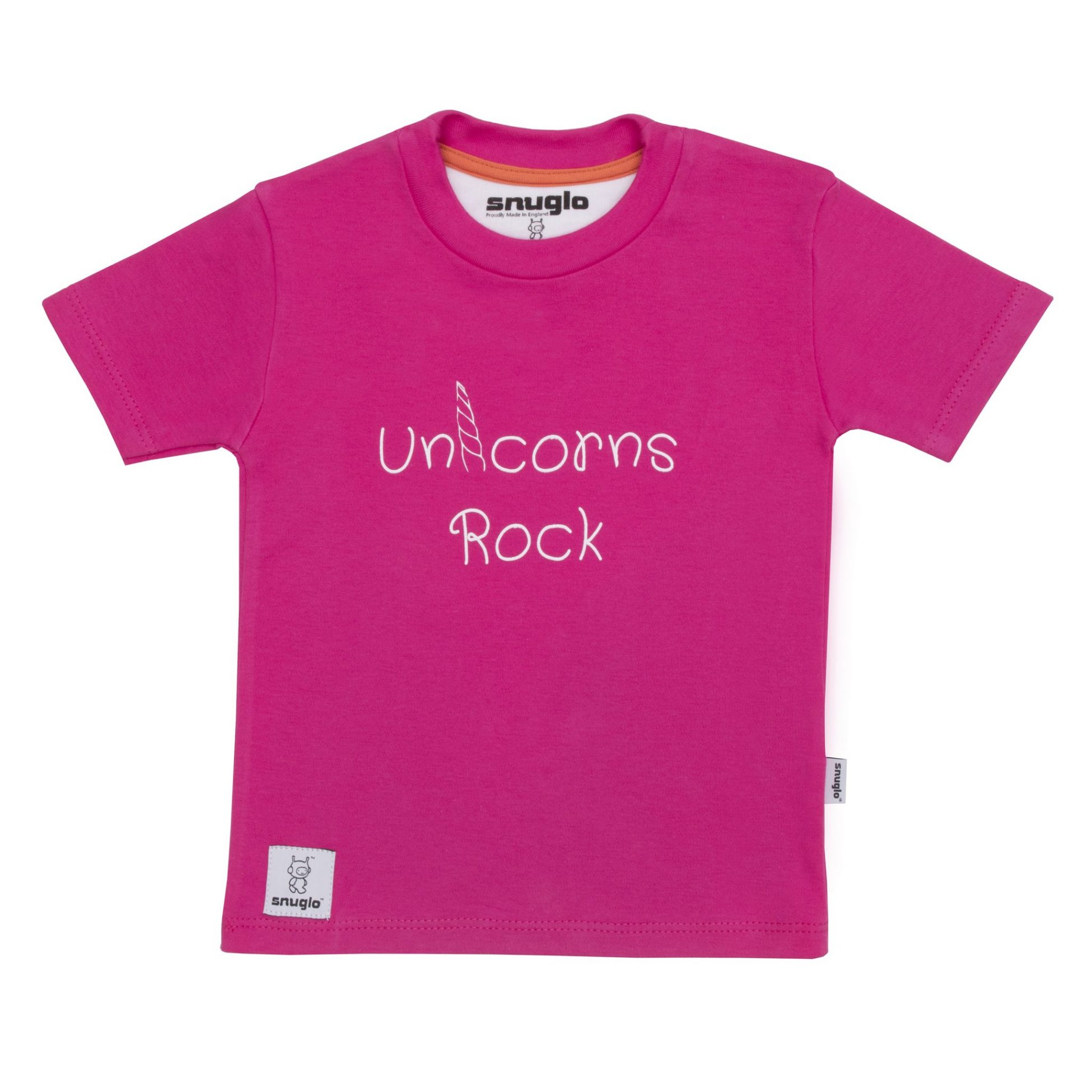 Unicorns Rock pink kids t shirt Made in England by Snuglo™
