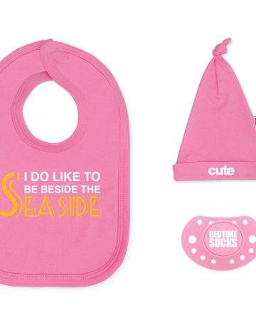 seaside pink baby gift set
